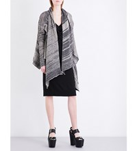 Anglomania Asymmetric Knitted Cardigan Natural Black