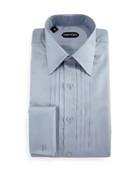 Tom Ford Pleated Silk Tuxedo Shirt Light Blue