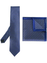 Lanvin Tie And Pocket Square Set Blue