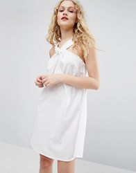 Asos Halterneck Sundress In Seersucker Stripe White