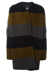 Rick Owens Striped Long Cardigan Multicolour