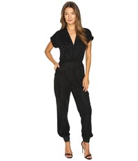 Just Cavalli Solid Lurex Short Sleeve Jumpsuit Black Women's Jumpsuit And Rompers One Piece