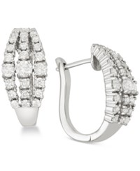 Wrapped In Love Diamond Three Row Hoop Earrings 1 1 2 Ct. T.W. In 14K White Gold