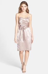 Women's Dessy Collection Cross Draped Strapless Satin Sheath Dress Topaz