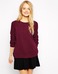 Pull And Bear Pullandbear Bobble Knitted Jumper Wine