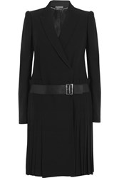 Alexander Mcqueen Leather Trimmed Pleated Crepe Blazer Black