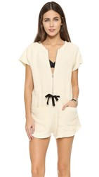 Solid And Striped The Zip Romper Cream