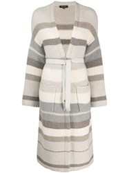 Loro Piana Long Belted Cardigan Neutrals