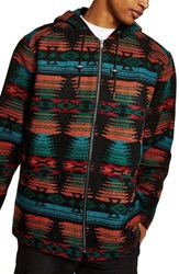 Topman Jacquard Hooded Jacket Black Multi