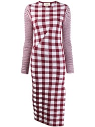 Ports 1961 Checked Knit Dress Red