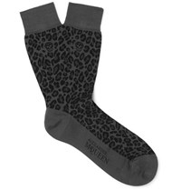 Alexander Mcqueen Leopard Jacquard Knit Cotton Blend Socks Gray