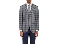 Ermenegildo Zegna Men's Overplaid Wool Blend Two Button Sportcoat Light Grey Dark Grey Grey Light Grey Dark Grey Grey