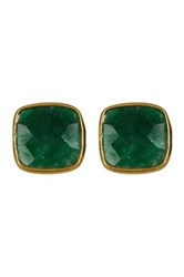 18K Yellow Gold Plated Sterling Silver Cushion Cut Emerald Stud Earrings Green