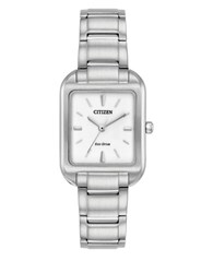 Citizen Eco Drive Rectangular Analog Watch Silver