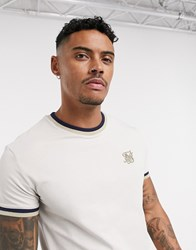 Sik Silk Siksilk Ringer T Shirt In Beige