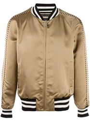 Marc Jacobs Striped Trim Bomber Jacket Nude Neutrals