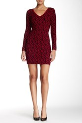 V Neck Pattern Sweater Dress Red