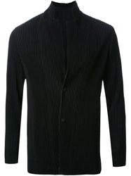 Homme Plissa Issey Miyake Pleated Single Breasted Jacket Black
