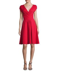 Armani Collezioni Milano Jersey V Neck Dress Red