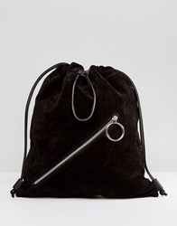 Asos Suede Drawstring Backpack With Slanted Zip Front Detail Black