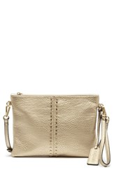Sole Society Bayle Faux Leather Clutch Beige Sand Metallic