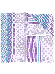 Missoni Zig Zag Knitted Scarf Women Polyester Viscose One Size Blue