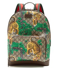 Gucci Bengal Gg Supreme Canvas And Leather Backpack Brown Multi