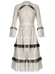 Erdem Connie Ruffle Trim Floral Lace Dress White