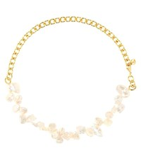 Anissa Kermiche Two Faced Shelly Gold Plated Pearl Necklace