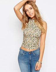Asos Sleeveless Polo Crop Top In Ditsy Print Multi