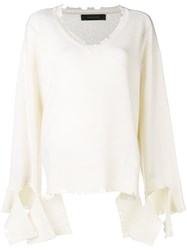 Federica Tosi Destroyed Jumper White