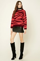Forever 21 Zebra Pattern Sweater Pink Wine