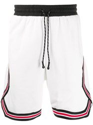 Les Benjamins Sports Diagonal Panelled Shorts White