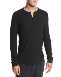 Vince Ribbed Raw Edge Henley T Shirt Black