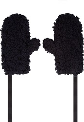 Mm6 Maison Margiela Black Textured And Tied Mittens