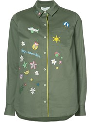Mira Mikati Longsleeve Printed Button Down Shirt Green