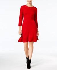 Jessica Howard Petite Fit And Flare Sweater Dress Wine