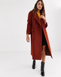Topshop Maxi Tailored Coat In Red