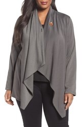 Bobeau Plus Size One Button Fleece Cardigan Olive Grove