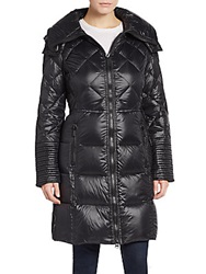 Saks Fifth Avenue Quilted Down Nylon Puffer Black
