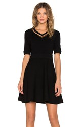 Milly Bar Inset Fit And Flare Dress Black
