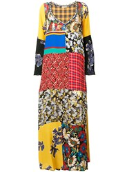 Anjuna Patchwork Flared Maxi Dress Yellow