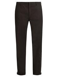 Lanvin Zip Cuff Cotton Drill Biker Trousers Black
