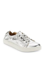 Steve Madden Glittered Lace Up Sneakers Silver