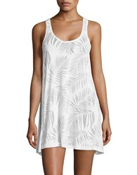 J Valdi Leaf Patterned Cover Up Tunic White