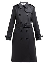 Burberry Curradine Double Breasted Coated Trench Coat Black