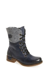 Rieker Antistress Women's 'Fee 04' Lace Up Boot Blue Faux Leather
