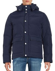 Brooks Brothers Hooded Down Jacket Blue