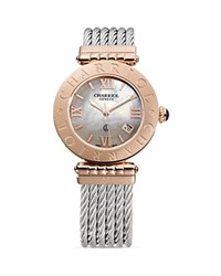 Charriol Alexandre C Large Round Pink Gold Plated Steel Watch 36Mm