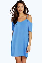 Boohoo Strappy Woven Cold Shoulder Dress Blue